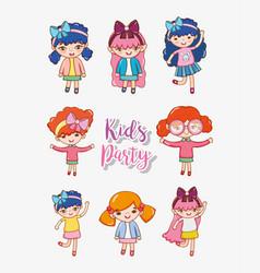 Girls kids party vector