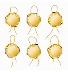 Gold wax seals with rope for letter or certificate vector