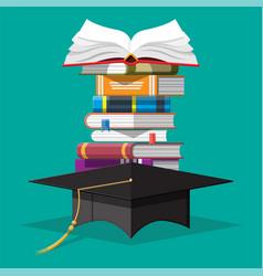 Graduation cap on stack books vector