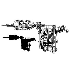 Graphic black and white tattoo machine set vol 3 vector