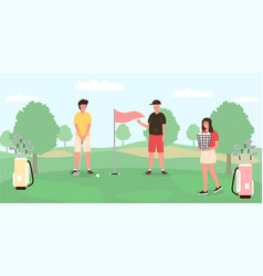 group young people playing golf vector image