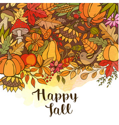 hand drawn doodle autumn background vector image