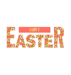 happy easter t-shirt print with golden eggs vector image