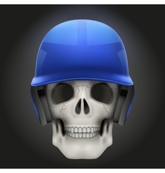 Human skull with baseball helmet vector