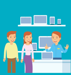 husband and wife when they are to buy computer in vector image