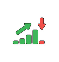 Icon concept sales bar chart moving up and vector