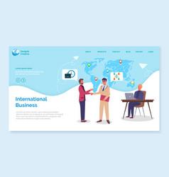International business landing page website vector