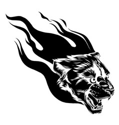 jaguar head with flame tattoo vector image
