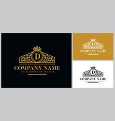 Letter d logo design luxury gold vector