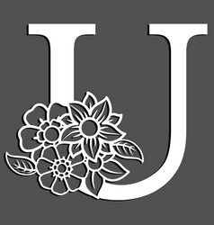 letter silhouette with flowers letter u vector image
