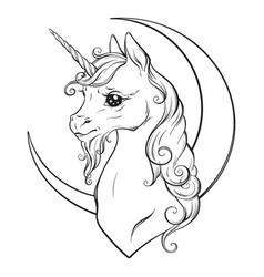 Little unicorn and crescent moon isolated vector
