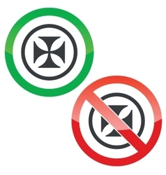 Maltese cross permission signs vector