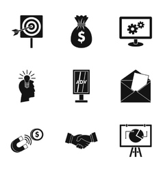 Marketing icons set simple style vector