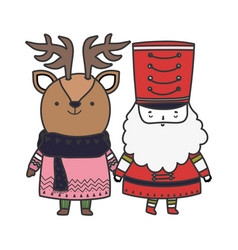 Merry christmas celebration nutcracker soldier and vector