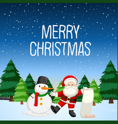 merry christmas with santa and snowman vector image