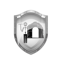 Metallic shield of miner with pickaxe vector
