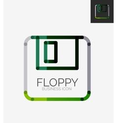 Minimal line design logo floppy icon vector