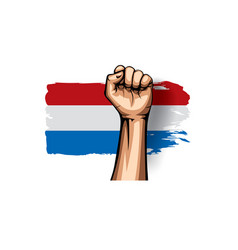 Netherlands flag and hand on white background vector