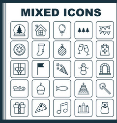New icons set collection of gift sparkles vector