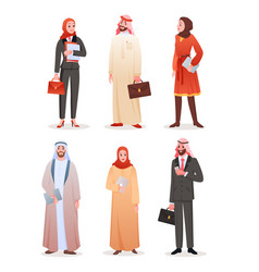 Office workers arab business people cartoon man vector