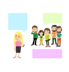 People with gadgets and speech bubbles vector image