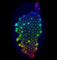 Polygonal network rainbow mesh map of vector