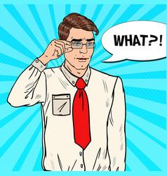 pop art confused businessman vector image