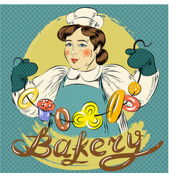pop art woman with pastry vector image