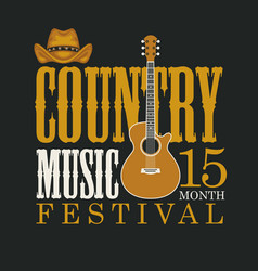 Poster festival country music with vector