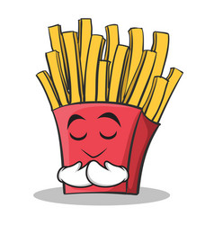Praying face french fries cartoon character vector