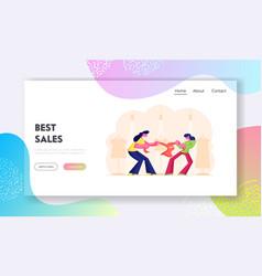 sale fight website landing page shopaholic women vector image
