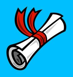 school graduation diploma rolled paper ribbon vector image