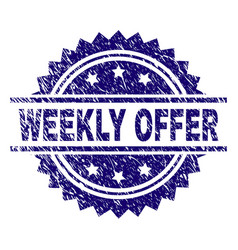 Scratched textured weekly offer stamp seal vector