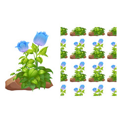 Seamless background design with blue tulips vector