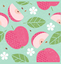 seamless pattern red apple leaves flowers vector image