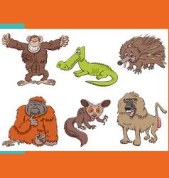 Set cartoon funny wild animals characters vector
