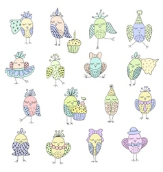 Set of cute birds in different actions vector image