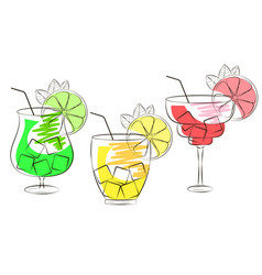 set of hand drawn alcohol cocktails vector image