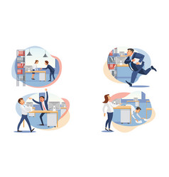 Set of stressed business people flat vector