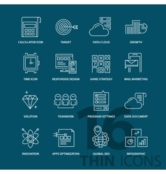 Set of thin line flat business icons vector image