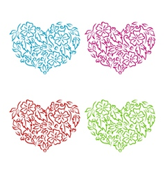 Set ornamental hearts in floral hand drawn style vector