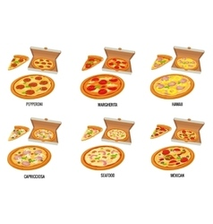 Set whole and slice pizza in open white box vector