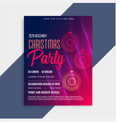shiny merry christmas flyer template with vector image