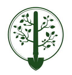 shovel with branches and green leaves vector image