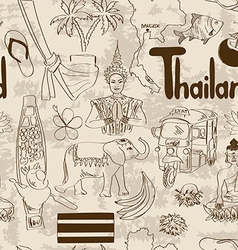 Sketch Thailand seamless pattern vector image