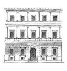 Small palace at rome by balthazar peruzzi vintage vector