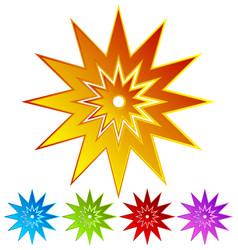 Sparkle flash shape in 5 colors - colorful retro vector