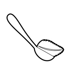 Spoon with tea leaf product icon vector