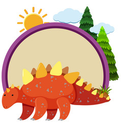 Stegosaurus and round border vector