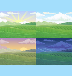 summer field green hill daytime fields landscape vector image